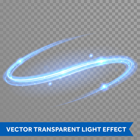 Illustration for Vector blue neon light trace with star glitter flare magic effect. Glowing smooth rotating curve on transparent christmas background - Royalty Free Image