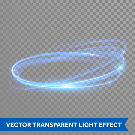 Illustration pour Vector neon light circle in motion. Glowing blue ring trace. Glitter magic sparkle swirl trail effect on transparent background. Bokeh glitter round wave line with flying sparkling flash lights - image libre de droit