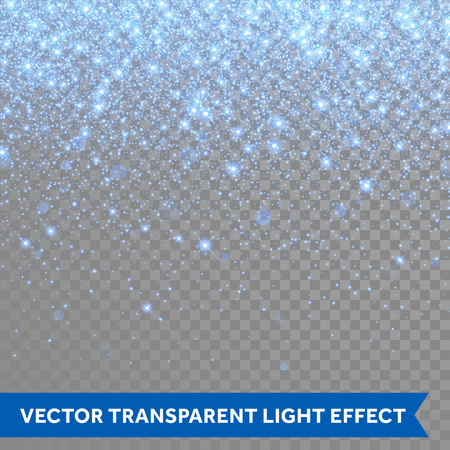 Ilustración de Vector neon blue glitter particles background effect for luxury greeting rich card. Sparkling snow flakes texture. Star dust sparks in explosion on transparent background. - Imagen libre de derechos
