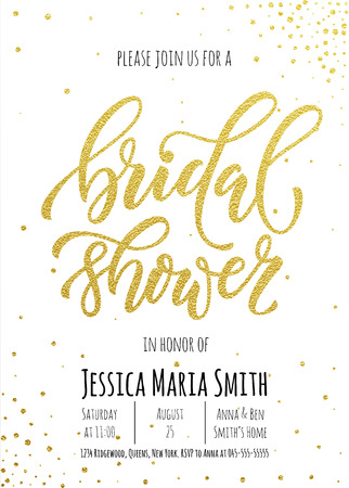 Illustration pour Bridal Shower invitation card template. Classic gold calligraphy vector lettering. White background with golden glittering dot pattern decoration - image libre de droit
