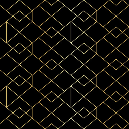 Illustration for Seamless gold geometric pattern with line rhombus. Golden modern abstract geometric pattern on black background - Royalty Free Image