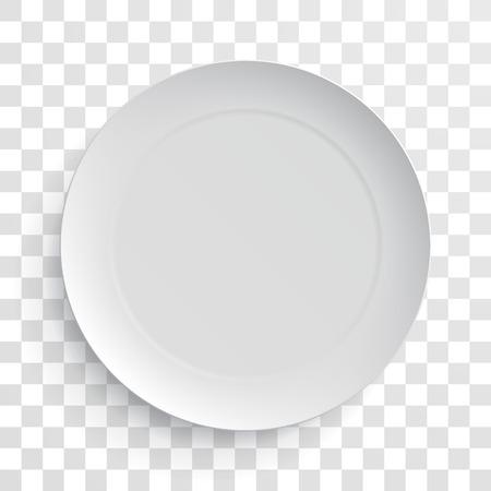 Illustration pour Empty white dish plate isolated 3d mockup model. Vector round porcelain, ceramic dinner plate. Illustration on transparent background - image libre de droit