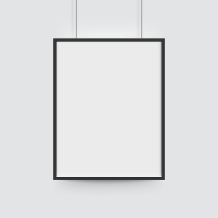 Ilustración de Picture frame for photographs. Vector realisitc paper or plastic white blank poster with black borders. Isolated picture frame hanging on ropes - Imagen libre de derechos