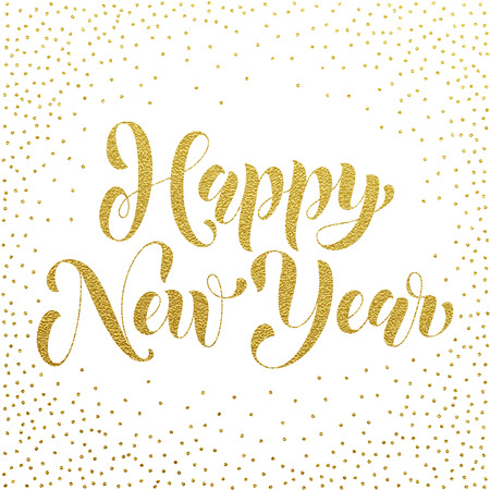 Illustration pour Happy New Year 2017 gold glitter lettering for greeting card. Vector hand drawn festive text New Year for banner, poster, invitation. International ano nuevo, joyeux noel, neues jahr greeting - image libre de droit