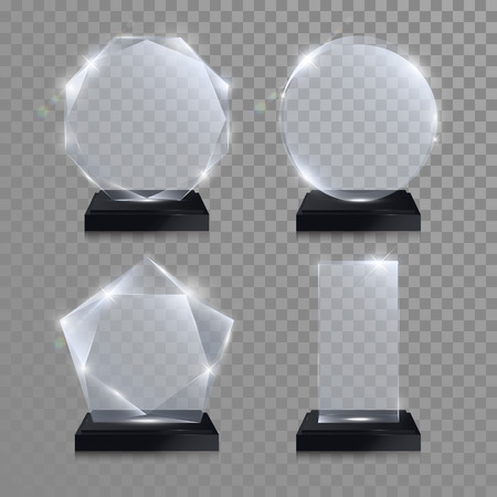 Illustration pour Glass trophy awards set. Vector crystal 3D transparent award mockup with pedestal on gray background. Glass acrylic prize round circle model for engraving. Round circle, square, octagonal, star shape - image libre de droit
