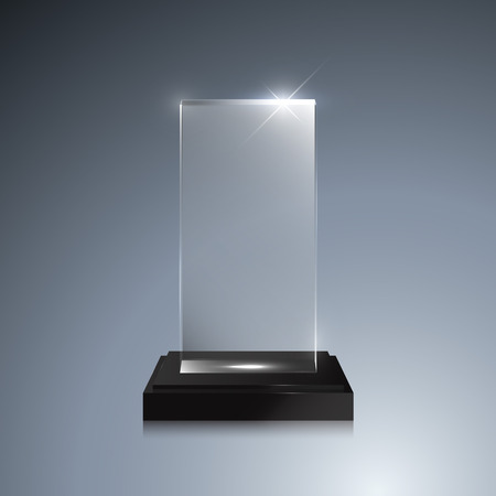 Glass trophy award. Vector crystal 3D transparent award mockup with pedestal on gray background. Glass acrylic prize square model for engraving