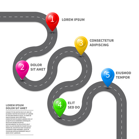 Illustration for Vector pathway road map with route with location pin icon on the way track. Roadmap direction navigation map GPS infographic leaflet template design - Royalty Free Image