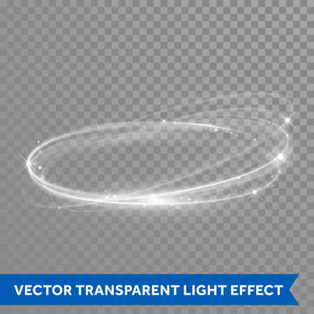 Vector light effect circle spiral. Glowing white light ring trace in motion. Dynamic glitter magic sparkle swirl trail on transparent background. Glitter neon round wave of sparkling flash lights
