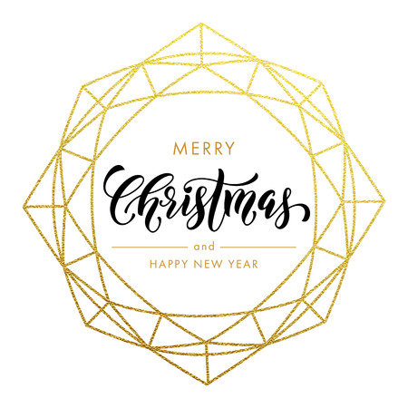 Illustration for Merry Christmas, Happy New Year gold glitter wreath, lettering trend modern design. Christmas greeting card, poster. Vector golden glittering gilding geometric gem ornament decoration white background - Royalty Free Image