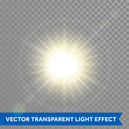Vector glowing sun light effects. Star sun flash explosion. Ray glow light with lens flareのイラスト素材