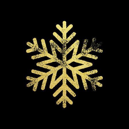 New Year golden glittering ornament decoration on black background with shining sparkling light effect. Vector isolated icon on black background. Snowflake with gold glitter texture fro Christmas