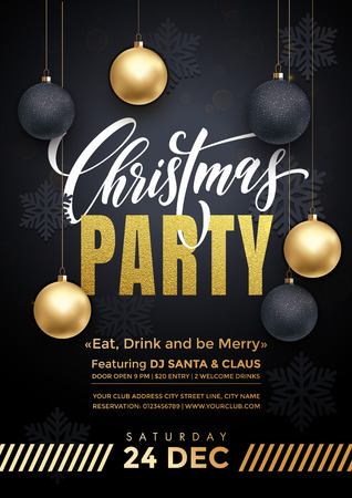 Ilustración de Party poster 24 December Merry Christmas holiday club invitation. Premium calligraphy lettering with gold ornament decoration of golden ball and gold snowflake on luxury black background - Imagen libre de derechos