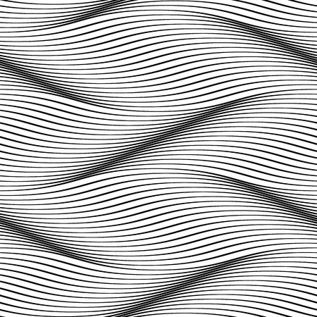Illustration pour Waves seamless pattern. Wavy surface background. Optical illusion of smooth 3D wave lines groove effect. Vector groovy backdrop for textile or wrapping paper, iterior design - image libre de droit
