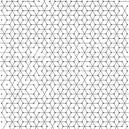 Illustration for Hexagonal cells background of abstract hexagon geometric mesh pattern. Polygonal net structure of lines connection with dots - Royalty Free Image