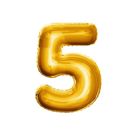 Photo for Balloon number 5 Five. Realistic 3D isolated gold helium balloon abc alphabet golden font text. Decoration element for birthday or wedding greeting design on white background - Royalty Free Image