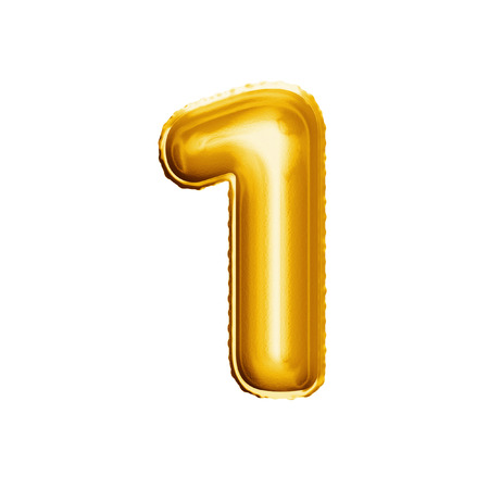 Photo pour Balloon number 1 One. Realistic 3D isolated gold helium balloon abc alphabet golden font text. Decoration element for birthday or wedding greeting design on white background - image libre de droit