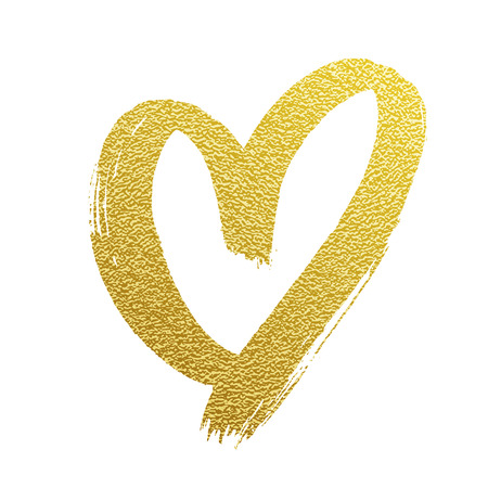 Illustration pour Valentine golden glitter heart vector hand drawn icon on white backgound for wedding greeting card - image libre de droit
