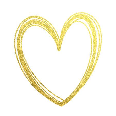 Ilustración de Gold heart or Valentine glitter on white premium card - Imagen libre de derechos