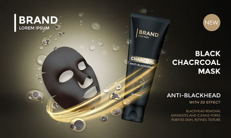 Illustration pour Cosmetic package vector advertising design template of facial charcoal anti blackhead mask. Woman premium skincare product of luxury black tube on golden sparkling background - image libre de droit