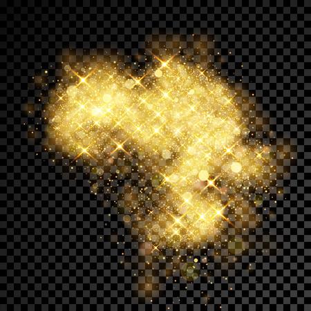 Gold glitter cloud or splatter burst. Sparkling stars or golden firework effect with shimmering powder texture.