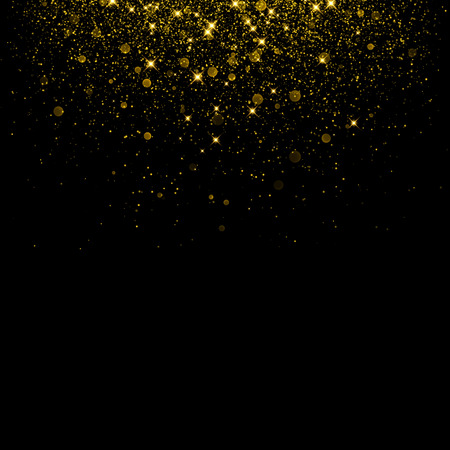 Ilustración de Gold glitter background with sparkle shine confetti. Vector glittering black background. Golden shimmer texture for luxury backdrop design. - Imagen libre de derechos