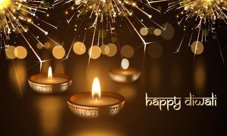Ilustración de Happy Diwali Indian Deepavali Hindu festival of lights holiday greeting card template. Vector gold candle light flame in golden blur premium background and traditional Diwali text lettering ornament - Imagen libre de derechos