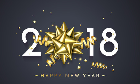 Ilustración de 2018 New Year golden gift ribbon bow and gold glittering stars confetti glitter decoration on premium black background. - Imagen libre de derechos