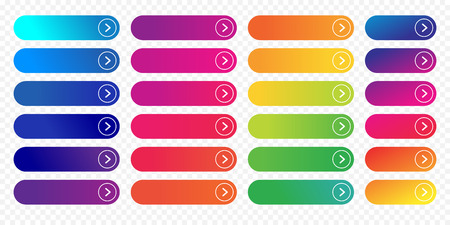Illustration pour Web buttons flat design template with color gradient and thin line outline style. Vector isolated rectangular rounded web page next arrow button elements set on transparent background - image libre de droit