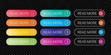 Illustration pour Read More web button flat design template with color gradient style. Vector web page button element isolated internet site page thin line outline modern button icons set on transparent background - image libre de droit