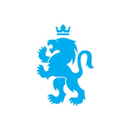 Illustration pour Lion and crown of a blue lion roaring with raised paws design - image libre de droit