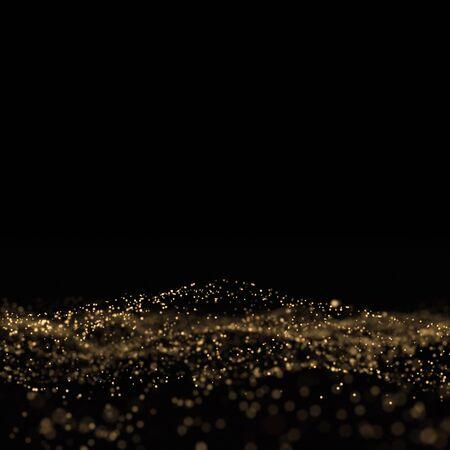 Photo pour Gold glitter, light particles wave on black - image libre de droit