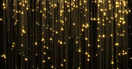 Photo pour Golden rain, gold glitter particles with magic light sparks falling. Glowing glittering Christmas background, shiny sparkling and flowing light threads, luxury gold shimmer glare - image libre de droit