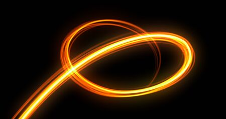 Foto de Light trail spiral, orange neon glowing wave swirl, energy flash spin trace effect. Abstract magic glow spiral line swirl trace, optical fiber and bright light path in speed motion on black background - Imagen libre de derechos