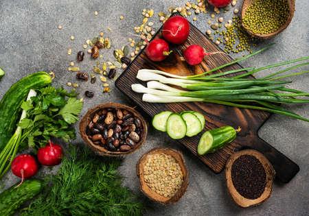 Photo for Vegan food ingredients Top view. - Royalty Free Image