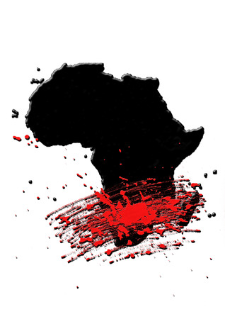 BLACK AFRICA MAP A artistic view of the destruction of the Continent Africaの写真素材