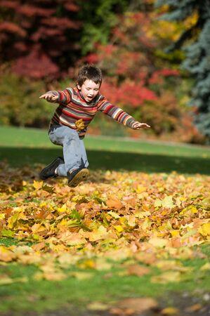Photo pour boy jumping in pile of leaves - image libre de droit