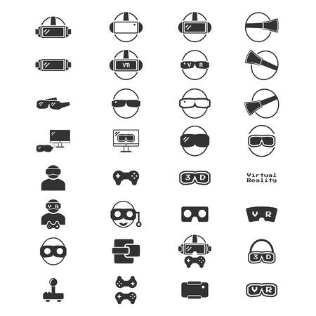 Virtual Reality Icon - VR icon silhouette vector  illustration set