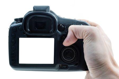 Photo pour Close up of male hand press on button of a black digital camera. - image libre de droit