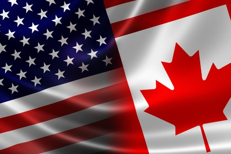 3D rendering of a merged Canadian-USA flag on satin texture  Concept of the mutually influential relations between the two countries politically and economically