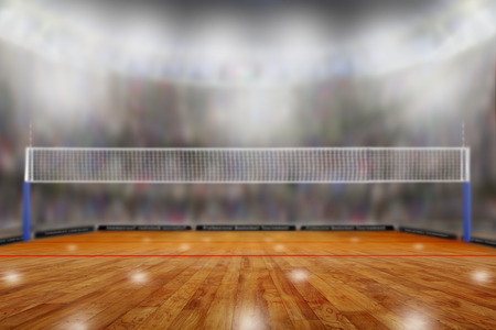 Foto de Low angle view of fictitious volleyball arena with sports fans in the stands and copy space. Focus on foreground with deliberate shallow depth of field on background. - Imagen libre de derechos