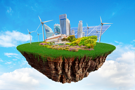 Photo pour Fantasy floating island with clean nature city relying on renewable resources. Concept of sustainable ecological future and alternative energy of an eco friendly planet. - image libre de droit
