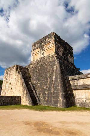 Maya temple above the ancient ball court (juego de pelota) at Chichen Itza from which priests and royalty watched the game of Pok-a-Tok played below them. .