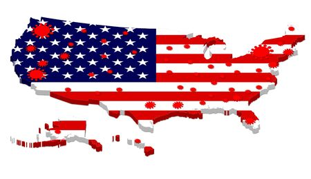 Photo pour 3D rendering of USA map with flag overlay showing the spread of COVID-19 Coronavirus in the United States of America - image libre de droit