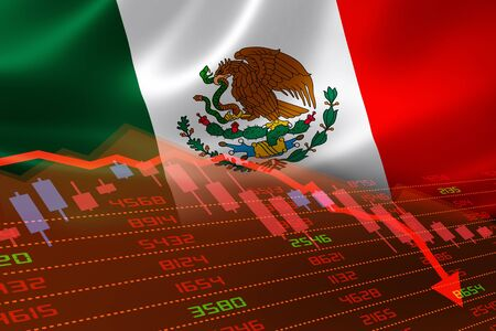 Photo pour Mexico economic downturn with stock exchange market showing stock chart down and in red negative territory. Business and financial money market crisis concept caused by Covid-19 or other catastrophe. - image libre de droit
