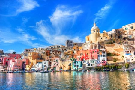 Beautiful island in the mediterranean sea coast, naples, italy