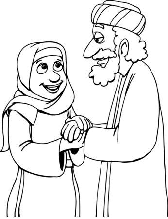 Illustration pour Cartoon Man and Woman holding hands - image libre de droit