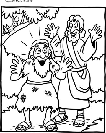 Illustration pour Coloring Page of Jesus and Blind Man - image libre de droit