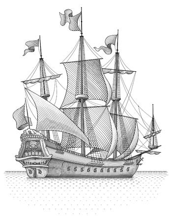 Retro ship vector