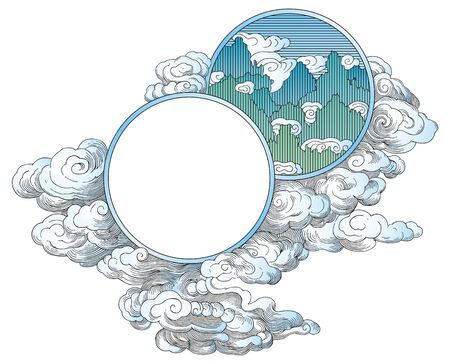 Illustration pour China mountains ornaments  - image libre de droit