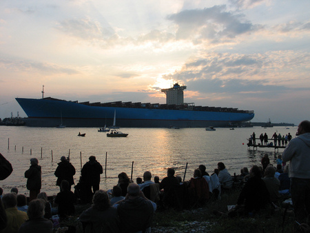 The world's biggest container ship - rolling ceremony in Denmark